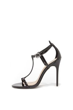 """Parties, dances, weddings, prom or date night - every occasion calls for a versatile heel! Skinny black patent straps frame a peep toe upper with an elegant T-strap, and adjustable quarter strap (with silver buckle). 4.25"""" matte black synthetic stiletto heel. Cushioned insole. Rubber sole has nonskid markings. Measurements are for a size 6.   Leo Black by Chinese Laundry. Shoes - Pumps & Heels - High Heel Miami, Florida"""