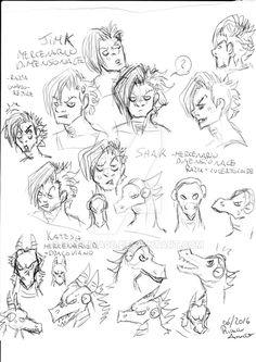 Studio delle espressioni dei tre mercenari multidimensionali rettiliani --------------------------- Study of the expressions of the three reptilian mercenaries multidimensional