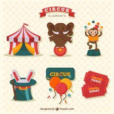 Colección de divertidos elementos de circo Vector Gratis