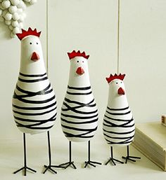 Amazon.com: Greencherry Wood Cute Chicken Chook Carving Figurines for Home Decor Pack of 3 Pcs: Home & Kitchen