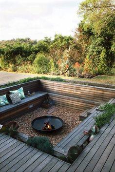 Home backyard designs wood deck fire pit gravel patio area for outdoor pits ideas . Deck Fire Pit, Fire Pit Party, Fire Pit Backyard, Firepit Deck, Outside Fire Pits, Backyard Patio Designs, Diy Patio, Backyard Landscaping, Backyard Ideas
