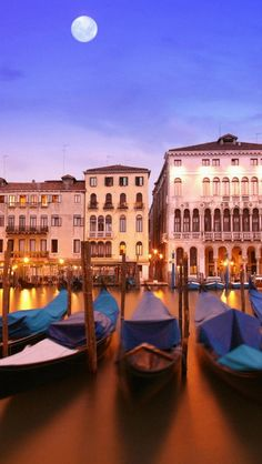 venice, italy, a city on the water, night, moon, building, construction, house, architecture, gondola