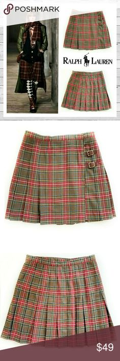 "Ralph Lauren Classic Plaid Kilt Ralph Lauren Classic Plaid Wool Kilt. Marked Sz 14 but runs very small, much better fit for a 12. Waist measures 16"" across laying flat. Exceptionally high quality as you can see by the tailoring detail. Looks amazing with Dr. Martens and a Moto jacket, or go preppy with a cashmere turtleneck. Very versatile! Bundle and save! Sorry no trades. Ralph Lauren Skirts A-Line or Full"