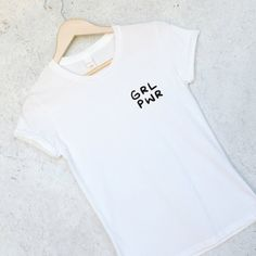 GRL PWR - Girl Power Pocket Tee Shirt in White for Women - Feminist - Feminism - Wonder Woman - Girl Power Shirt - Tumblr Shirts