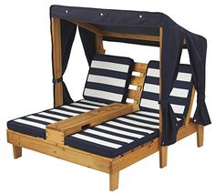 KidKraft Outdoor Double Chaise Lounge, Honey/Navy/White, ...