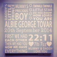 Boys birth board made from wood. Twinkle twinkle little star, first we had each other. Personalised quote board. ABC. Love you to the moon.