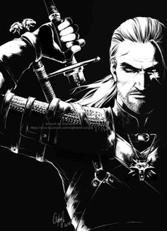 Geralt of Rivia - Main character from the witcher book series and game, awesome inked sketch. I love the use of dark and light.