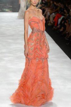Badgley Mischka Strapless Silk Peach Dress