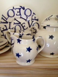 Emma Bridgewater dollies tiny Blue Stars jug & tea pot