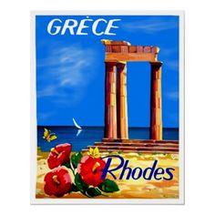 Rhodes Greece ~ Vintage Greek Travel Poster