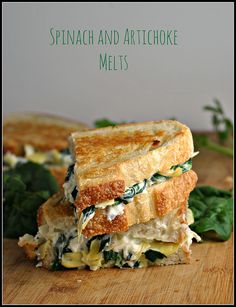 Spinach and Artichoke Melts. Spinach and Artichoke Melts Milk Recipes, Great Recipes, Vegetarian Recipes, Cooking Recipes, Favorite Recipes, I Love Food, Good Food, Yummy Food, Yummy Eats
