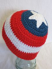 First Soldier beanie pattern by Level Up Nerd Apparel Ravelry: Captain America beanie, Avengers pattern by Level Up Nerd Apparel Crochet For Kids, Crochet Baby, Free Crochet, Knit Crochet, Loom Knitting, Knitting Patterns, Crochet Patterns, Kids Patterns, Crochet Beanie