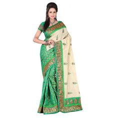 Classy Green Color Bhagalpuri Silk Printed Saree at just Rs.399/- on www.vendorvilla.com. Cash on Delivery, Easy Returns, Lowest Price.