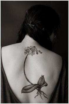 Tattoo orchidée le long de la colonne vertébrale https://tattoo.egrafla.fr/2016/02/11/tatouage-orchidee/