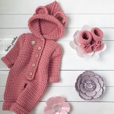 50 Ideas For Crochet Baby Onesie Pattern Ideas Baby Girl Crochet, Newborn Crochet, Crochet Baby Hats, Crochet For Kids, Crochet Baby Dresses, Booties Crochet, Knitted Baby Clothes, Knitted Romper, Crochet Clothes