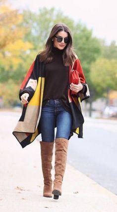 #fall #fashion / geometric poncho