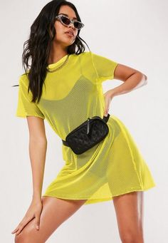 Missguided Yellow Oversized Fishnet T Shirt Dress Missguided Oversized Fishnet vestido de camiseta Moda Instagram, Festival Outfits, Festival Fashion, Casual Festival Outfit, Festival Clothing, Neon Outfits, Fashion Outfits, Yellow Shirt Outfits, Cute Rave Outfits