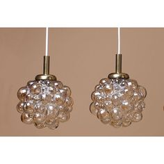 Image of Pair of Amber Bubble Pendants by Helena Tynell Pendant Lighting, Amber, Bubbles, Pendants, Ceiling Lights, Image, Design, Decor, Decoration
