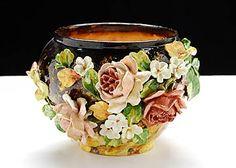 "French Antique Majolica ""Ecole D'Auteuil Impressionist Floral Bowl Circa: 1890"