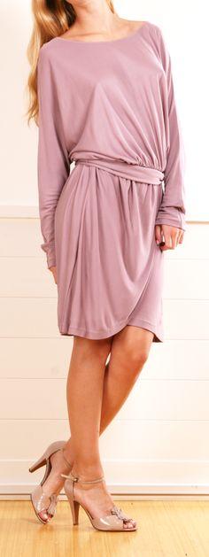 Halston Heritage draped belted lavender long sleeve dress