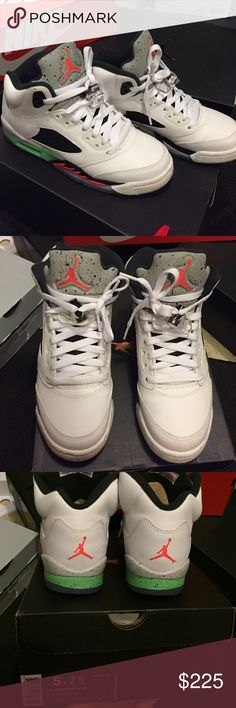 Retro 5s Retro 5s; used a couple times. It's more of a coral then a red, with green and grey. Size 5Y so like a woman's 6.5/7. These are limited release and hard to get your hands on. No low ball offers. Shoes Sneakers
