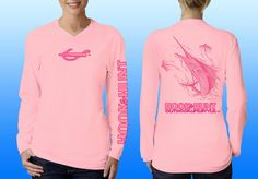 Ladies light pink, v-neck performance shirt with a sailfish on back with logo's on front, back and sleeve.  Made in the USA. Please like & share us on facebook. http://facebook.com/hookandhuntoutdoor