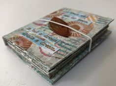 Addicted to Art: Eileen Hull Tiny Book with PaperArtsy Stamps and Paints Altered Books Pages, Book Pages, Book Making, Card Making, Mixed Media Tutorials, Cardboard Packaging, Torn Paper, Mini Books, Art Blog