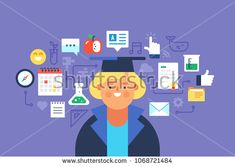 Study, Online education. Flat design modern vector illustration concept.