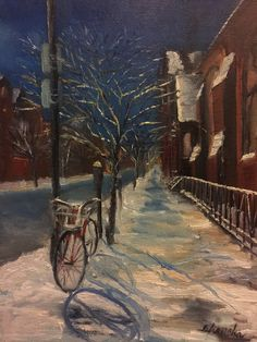 "Bicycle In Snow (Night II), 2018. oil on masonite board. 14"" by 11"""
