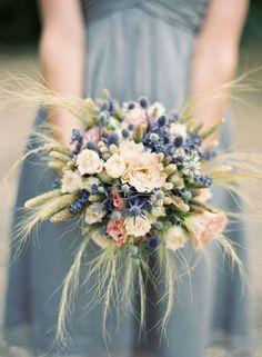 thistle wedding flowers, wedding flower inspiration, blue bridesmaids dress, rose wedding flowers, wheat wedding inspiration