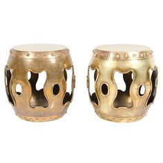 Pair of Chinese Brass Drum Garden Tabourets  Hong Kong - 1970's