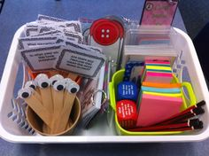 'Teacher Time' basket. Use this during guided reading and teacher groups. It has comprehension cards, character elements, fiction and non-fiction feature cards, post its, bloom's buttons, reading strategy cards...EVERYTHING!!