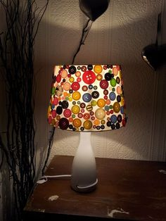 An 'Original' Button Lampshade made by Michelle Grancourt from a Pinterest pin!  Excellent!