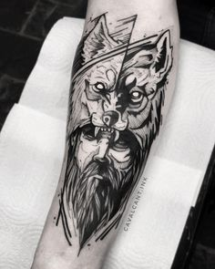 Wolf Tattoo Forearm, Bicep Tattoo Women, Wolf Tattoo Sleeve, Wolf Tattoos, Tattoo Sleeve Designs, Skull Tattoos, Black Tattoos, Body Art Tattoos, Sleeve Tattoos