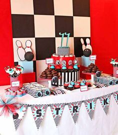 Bowling Birthday Dessert Table {Boy Party Ideas} - Spaceships and Laser Beams