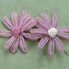 Vintage French Pink Beaded Flower