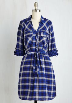 Backpacking Banquet Dress. Upon returning home from your round-the-world hike, slip into this blue plaid shirt dress and celebrate with friends over a feast! #blue #modcloth