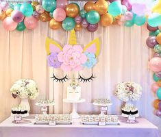Unicorn party decorations backdrop for girls birthday baby shower diy flower 2 2 of 9 Monster Birthday Parties, Birthday Diy, Unicorn Birthday Parties, Girl Birthday, Diy Unicorn Party, Unicorn Party Supplies, Birthday Decorations At Home, Balloon Decorations Party, Fiesta Theme Party