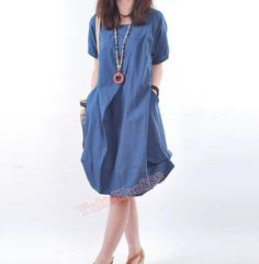 Loose+Women+Simple+Robe+plissée+bleu-+de+casualfashion+sur+DaWanda.com