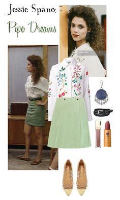 """Jessie Spano: Pipe Dreams"" by jleigh329 ❤ liked on Polyvore featuring Episode, Oscar de la Renta, Tomas Maier, Clarins, Uniqlo, Lucky Brand, Delman, Lipstick Queen, SavedByTheBell and 1991"
