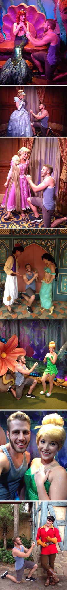 This guy proposed to a bunch of Disney Princesses and Gaston! I loved Aladdin he is all like DUDE WHAT THE?!