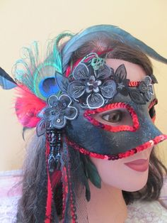 Black & Red Masquerade Venetian Mask by NakedOrchidGarters on Etsy