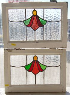 Pair Antique Stained Glass Windows Angelic Ruby Florets   eBay Stained Glass Frames, Antique Stained Glass Windows, Leaded Glass Windows, Stained Glass Angel, Stained Glass Designs, Stained Glass Projects, Stained Glass Patterns, Antique Glass, Art Nouveau