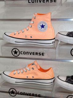 Coral Light Orange Converse Chuck Taylor All Stars High Tops Sneakers Tennis Shoes Converse All Star, Cute Converse, Converse Classic, Converse Style, Converse Sneakers, Orange Converse, Colored Converse, Cute Shoes, Me Too Shoes