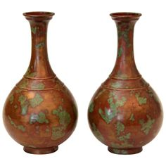 Pair of Vintage Japanese Art Deco Patinated Bronze Bottle Vases | From a unique collection of antique and modern metalwork at https://www.1stdibs.com/furniture/asian-art-furniture/metalwork/
