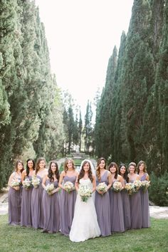 Love this beautiful real Donna Morgan wedding featuring the Laura, Emily, and Julie gowns in Grey Ridge #wedding #bridesmaids