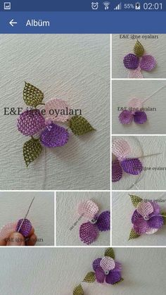 This Pin was discovered by Bur Needle Lace, Bobbin Lace, Lace Flowers, Crochet Flowers, Kutch Work, Wire Crochet, Brazilian Embroidery, Beading Tutorials, Baby Knitting