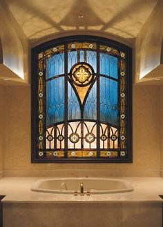 Stained Glass Bathroom Privacy Window Treatment