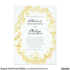 Elegant Gold Frame Wedding Invitation Template
