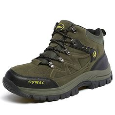 Mens Hiking Boots Wearresistant Shock Absorption Rubber Sole Outdoor Trekking Walking High Shoes ** Visit the image link more details.(This is an Amazon affiliate link and I receive a commission for the sales)
